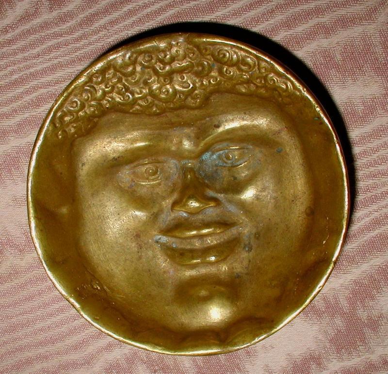 RARE 1880s Brass Black Americana SLAVE FACE Bowl