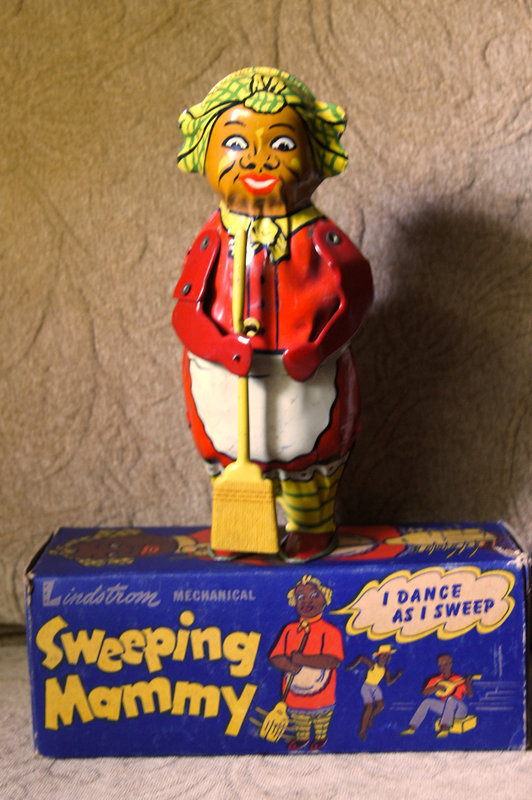 1930 Mammy Lithographed Tin Wind Up Sweeper Toy w/BOX