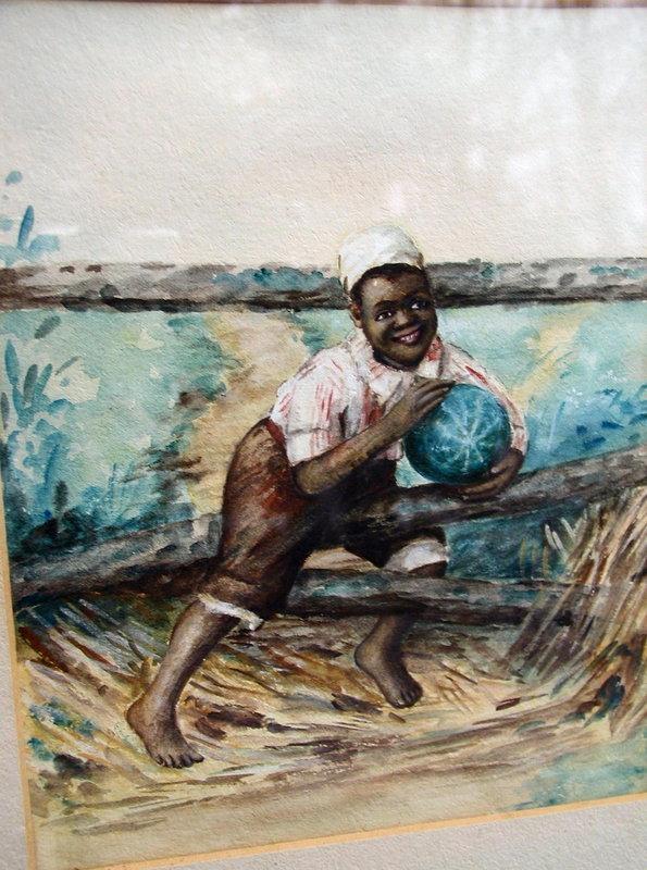 C1910 Sweet Watercolor Black Boy Holding Watermelon