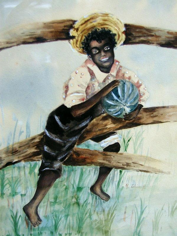 C1910 Signed SHIRREFF Watercolor Black Boy Watermelon