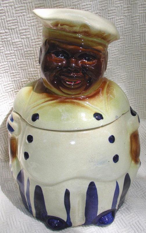 Vintage National Silver 1940s Black Chef Cookie Jar
