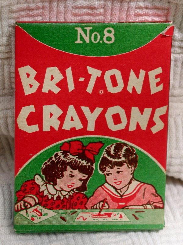 1940-50s MIB Bri-Tone No. 8 Box of School Art Crayons
