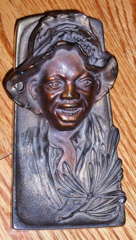 Stunning C1920 Johnny Griffin Black Boy Brass Inkwell