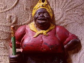 C1900 Cast Iron Antique Mammy Memo Board w/Pencil