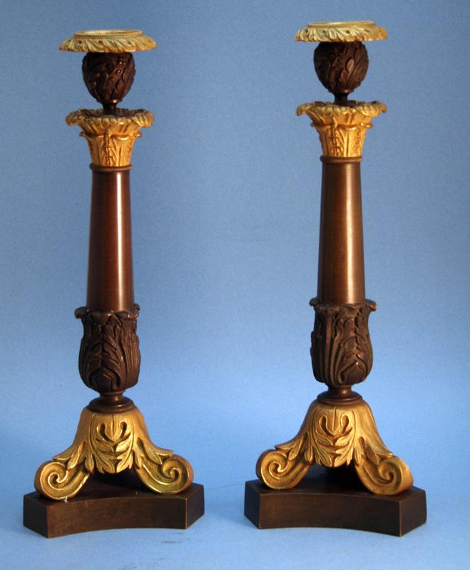 Pair of Italian Grand Tour 19th Century Bronze and Ormolu Candlesticks