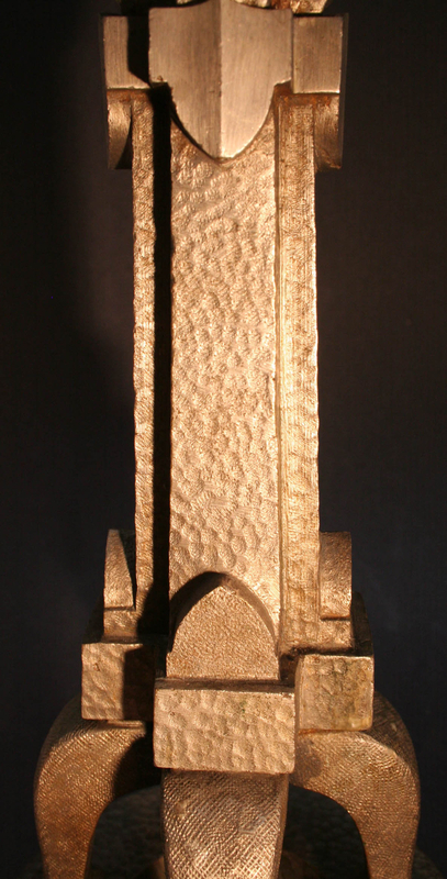Hammered and Silvered Bronze Arts and Crafts Candlesticks