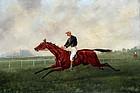 19th Century British Painting of a Jockey Galloping a Horse