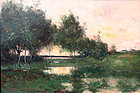 Marsh Landscape Painting by Max Weyl with interesting provenance