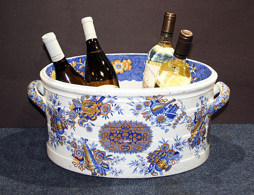 Antique Spode Pottery Transfer Decorated Ceramic Wine Cooler