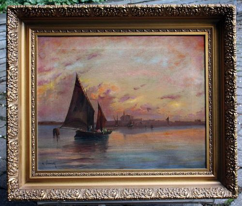 Painting of Fishermen in the Venetian Lagoon at Daybreak