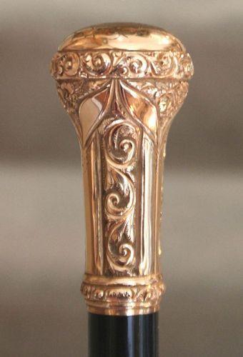Antique Gold Presentation Cane, 1897
