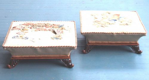 Rare Pair of Regency Upholstered Footstools