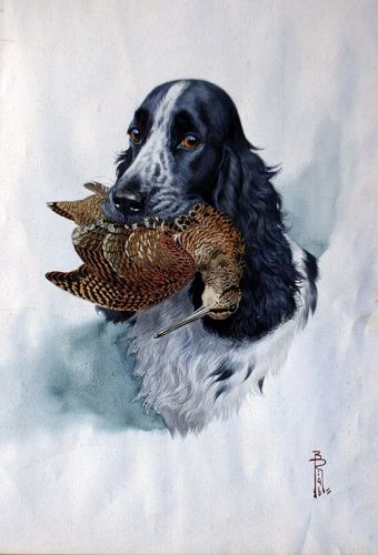Setter with Woodcock by Boris Raib (French, 1898-1975