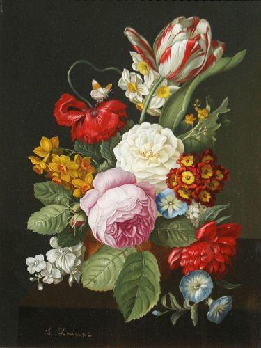 Antique Floral Still Life Lina Krause (Ger, b.1857)
