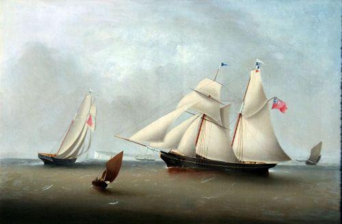 Schooner by J. Murday (British, 1837-1911