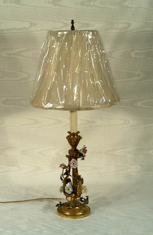French Ormolu and Porcelain Flower Lamp