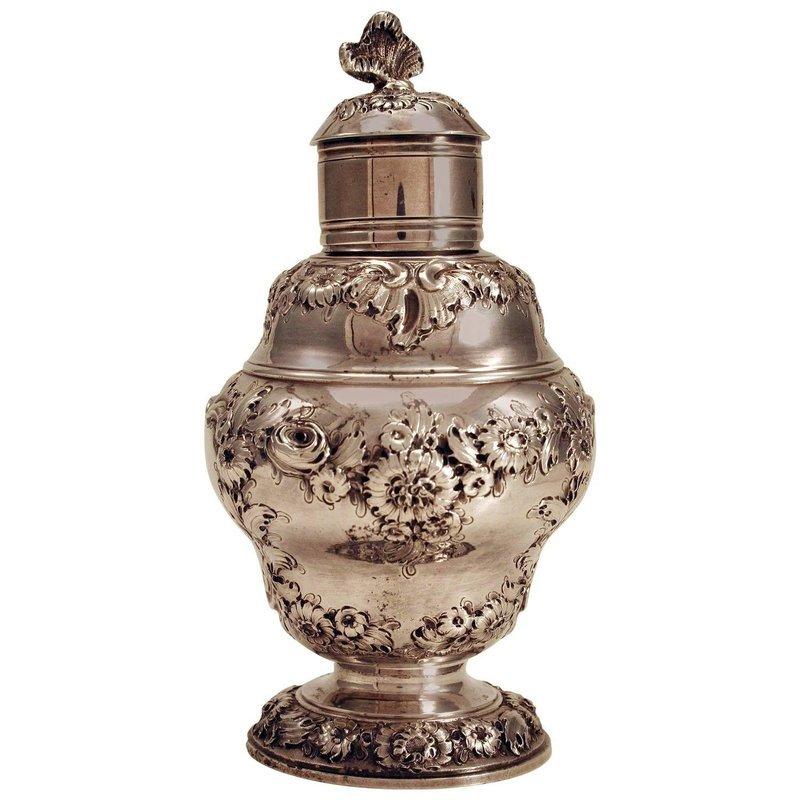 Fine George II Silver Tea Caddy by Samuel Taylor