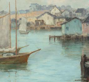 Maurice Braun  (American, 1877-1941), California Harbor, Oil on canvas