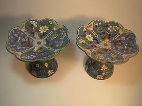 A Pair of Old C. Chinese Enamel Cloisonne Pedestal Dish