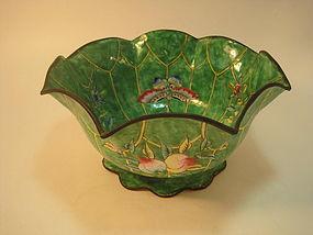 A Qing Dynasty Chinese Canton Enamel Foliate Bowl