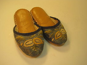 A Pair of Old Chinese Child Leather Slippers