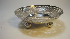 Late 19th C. Chinese Export Silver Dish WH Mark