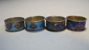 Group 4 Late 19th/20th C. Chinese Enamel Silver Rings