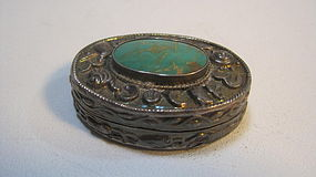 A Beautiful Old Chinese Silver Pill Box Marked