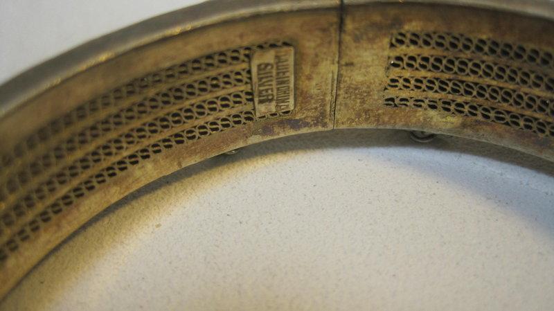 Beautiful Early 20th C. Chinese Silver Malachite Bangle