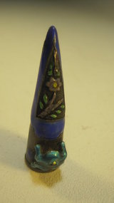 Old Chinese Silver Enamel Small Fingernail Guard