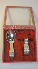 Old Chinese Export Silver Baby Food Pusher Set Marked