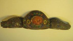 19th/20th C. Chinese Silver Enamel Carnelian Bracelet