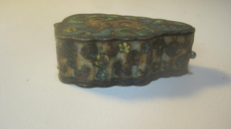 Late 19th C. Chinese Silver Enamel Pill Box Marked