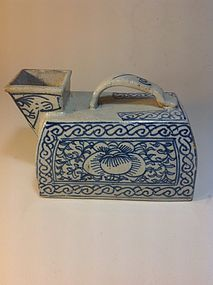19th C. Chinese Blue and White Porcelain Urinal Bottle