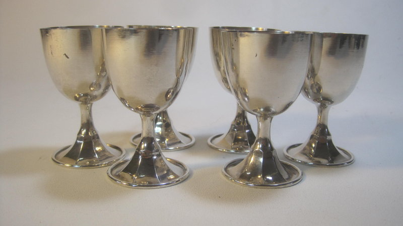 6 Early 20th C. Chinese Export Silver Wine Cup Marked