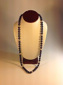 A Vintage Lapis Beads Necklace With 14K Gold Beads