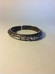 A Nice Early 20th C. Chinese Silver Bangle Marked