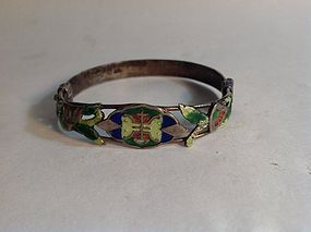 Early 20th C. Chinese Silver Enamel Bangle Marked