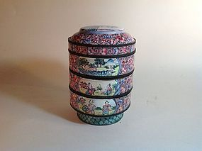 19th/20th C. Chinese Painted Canton Enamel Boxes