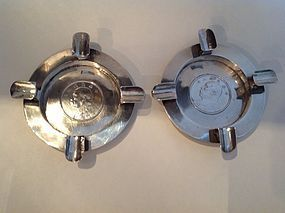 Two Nice Early 20th C. Chinese Export Silver Ash trays With Coin MK