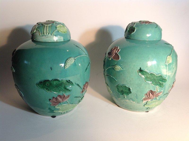Pair 19th/20th C. Chinese Large Size Porcelain Susancai Lidded Jars