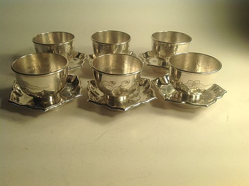 6 sets of Chinese silver wine cups with soucer marked