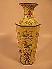 A Fine Chinese Enamel Copper Hexagonal Vase