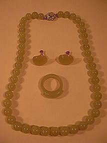 Fine vintage celadon Jade Necklace/Ring/Earrings set