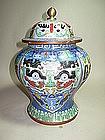 A CHINESE 19TH C.  CLOISONNE ENAMEL JAR