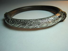 19th C. Chinese Rattan Sterling Silver Bangle