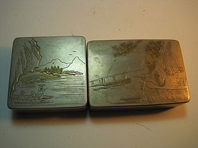 Two Early 20th C. Chinese Scholar Bronze Ink Boxes