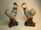 Pair of 19th C. Chinese Export Famille Rose Roosters