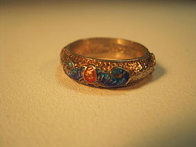 A Beautiful Old Chinese Silver Enamel Ring