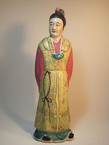 19th/20th C. Chinese mudman Famille Rose Sculpture